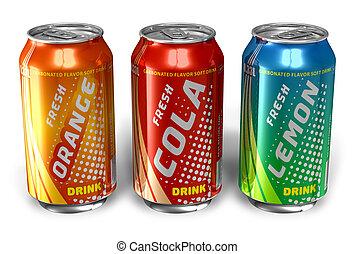 refrescar, bebidas, em, metal, latas