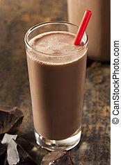 refrescar, gostosa, leite chocolate