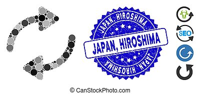 refrescar, icono, japón, grunge, hiroshima, sello, mosaico