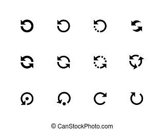 refrescar, icono, vector, conjunto