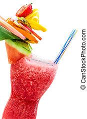 refrescar, verão, bebida, com, morangos