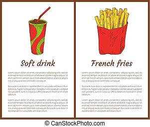 refresco, y, papas fritas, vector, ilustración