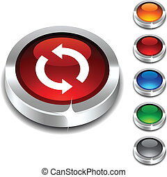 Refresh 3d button. - Refresh 3d button set. Vector...