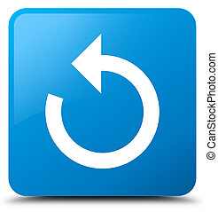 Refresh arrow icon cyan blue square button