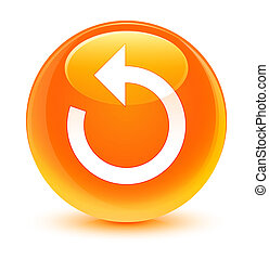 Refresh arrow icon glassy orange round button