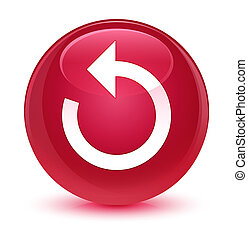 Refresh arrow icon glassy pink round button