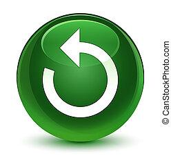 Refresh arrow icon glassy soft green round button