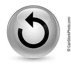 Refresh arrow icon glassy white round button