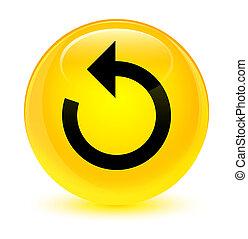 Refresh arrow icon glassy yellow round button