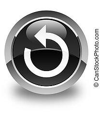 Refresh arrow icon glossy black round button