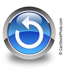 Refresh arrow icon glossy blue round button