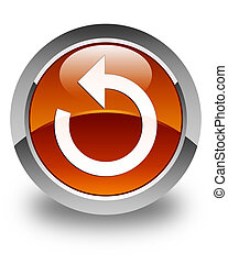 Refresh arrow icon glossy brown round button