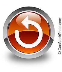 Refresh arrow icon glossy brown round button