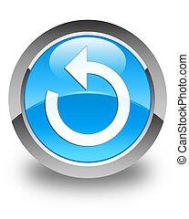 Refresh arrow icon glossy cyan blue round button