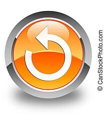 Refresh arrow icon glossy orange round button