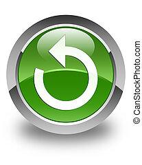 Refresh arrow icon glossy soft green round button
