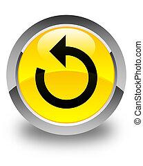 Refresh arrow icon glossy yellow round button