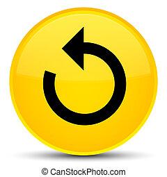Refresh arrow icon special yellow round button