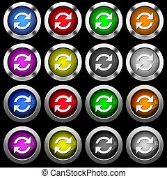 Refresh arrows white icons in round glossy buttons on black background