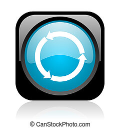 refresh black and blue square web glossy icon