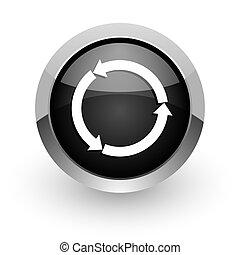 refresh black chrome glossy web icon