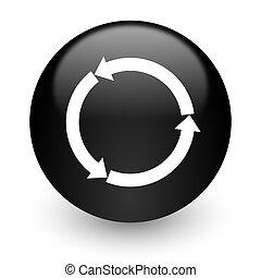 refresh black glossy internet icon