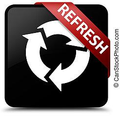 Refresh black square button red ribbon in corner