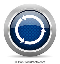 refresh blue circle glossy web icon on white background, round button for internet and mobile app