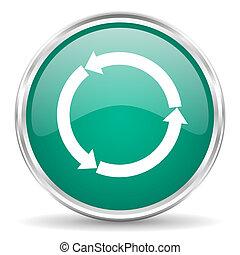 refresh blue glossy circle web icon