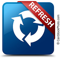 Refresh blue square button red ribbon in corner