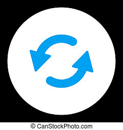 Refresh Ccw flat blue and white colors round button