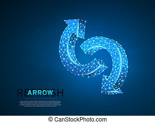 Refresh circular arrows symbol. Wireframe digital 3d illustration. Low poly, repeat, recycling button concept on blue background. Abstract Vector polygonal neon sign. RGB color mode