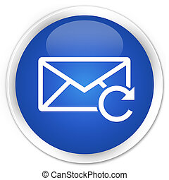 Refresh email icon blue glossy round button