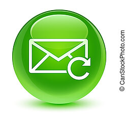 Refresh email icon glassy green round button