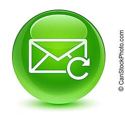 Refresh email icon glassy green round button