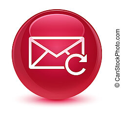 Refresh email icon glassy pink round button