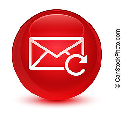 Refresh email icon glassy red round button