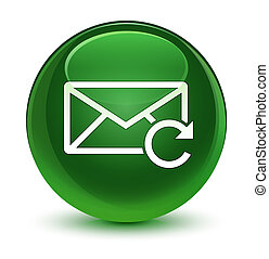 Refresh email icon glassy soft green round button