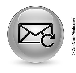 Refresh email icon glassy white round button