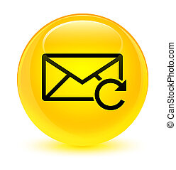 Refresh email icon glassy yellow round button
