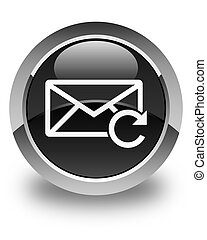 Refresh email icon glossy black round button