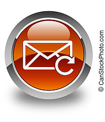 Refresh email icon glossy brown round button