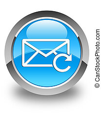 Refresh email icon glossy cyan blue round button