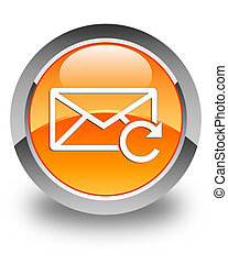 Refresh email icon glossy orange round button