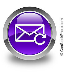 Refresh email icon glossy purple round button