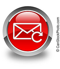 Refresh email icon glossy red round button