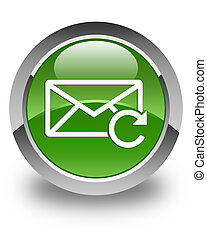 Refresh email icon glossy soft green round button