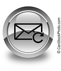 Refresh email icon glossy white round button