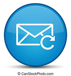 Refresh email icon special cyan blue round button