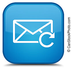 Refresh email icon special cyan blue square button